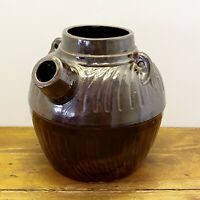 "1800s Brown Albany Slip Glazed Tab Handled Spouted Stoneware Batter Jug 8""H 9""W"