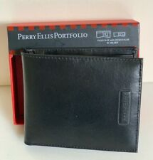 PERRY ELLIS PORTFOLIO JAFFREY BLACK PASSCASE BILLFOLD W/ REMOVABLE ID WALLET $43