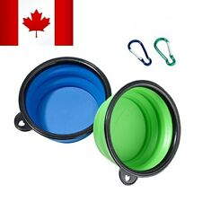 Portable Foldable Silicone Travel Collapsible Pet Dog Water Bowls with hook Clip
