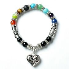 Heart Pendant Chakra Bracelet For Women Men Natural Stone Charm - New + Gift Box