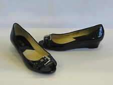 Michael Kors Black Embossed Patent Leather Wedge Heels/Peep Toes 6.5M – GR8!