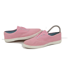 Vintage 70s Streetwear Womens Size 7 Canvas Slip On Sneakers Shoes Pink USA