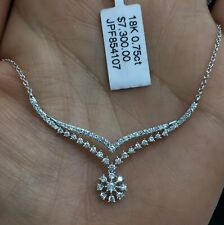 18k Solid White Gold Set Necklace Beautiful Pendant Diamond 0.75CT. Was $7300.
