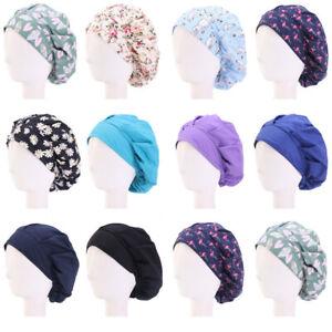 Unisex Bouffant Cap Hair Cover Bonnet Hat Headwrap Worked Kitchen Slouch Hat