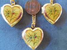 Vintage lot old store stock 3 md heart flower antiqued-look locket necklaces Lt5