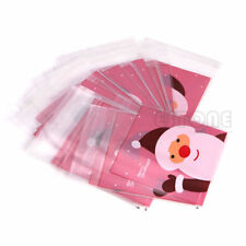 50pcs Christmas Cellophane Pink Bags Gift Packaging Packing Cookies Candy Cake