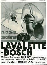 Publicité ancienne voiture automobile bougie LAVALETTE BOSCH 1931 issue magazine