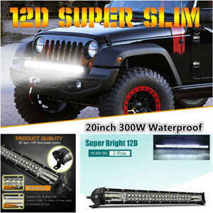 """20"""" 2-Row 300W LED Work Light Bar Flood Spot Combo Driving Lamp Offroad 4WD SUV"""