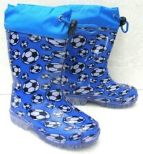 NEW BABY BOYS KIDS BLUE WELLINGTONS BOOTS RAIN WATERPROOF WELLIES FOOTBALL SHOES