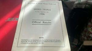 BRIGHTON--SPEED TRIALS---26TH SEPTEMBER 1936--OFFICIAL RESULTS BOOKLET