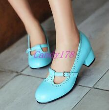 Fashion Womens Round Toe mary Jane High Heels Dress Casual Shoes All Plus Size