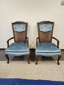 Vintage Pair Hollywood Regency High Back Cane And Velvet parlor chairs