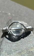 Handmade Clear Crystal Quartz Silver Wire Wrapped Ring ANY SIZE