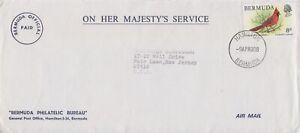 Bermuda -1978 Birds, 8c Cardinal OHMS Air Mail Cover - Official Paid - Hamilton