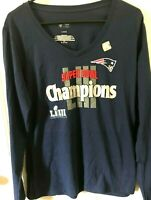 New England Patriots Super Bowl LIII 53 Champions Long Sleeve T-Shirt Womens 2XL