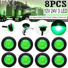 "8X Mini 12V Green 3/4"" Round Side LED Marker Car Trailer Bullet Clearance Lamp"