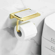 Aluminium Bathroom Accessories Toilet Paper Holder with Phone Shelf Brushed Gold