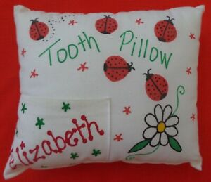 EUC Personalized Elizabeth Fabric Tooth Fairy Pillow w/Red Ladybugs and Flower