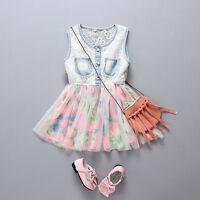 Toddler Kids Baby Girl Denim Tulle Party Pageant Communion Tutu Princess Dresses
