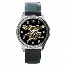 Navy Seal Trident Warfare Insignia US Leather Watch New!