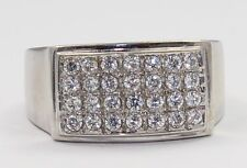 14 White Gold Cubic Zirconia Mens Ring