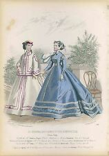 VICTORIAN antique 1865/6 Parisian Fashion Print Plate HAND COLORED couture dress