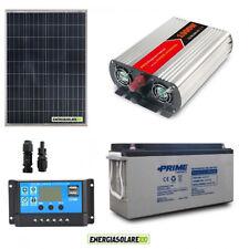 Kit fotovoltaico pannello solare 100W regolatore 10A batteria inverter 1KW 12V