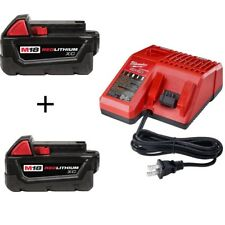 (2) NEW GENUINE 18V Milwaukee 48-11-1828 3.0 AH Battery, 1) Charger  M18 18 Volt