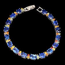 Unheated Oval Blue Kyanite 7x5mm Sapphire 925 Sterling Silver Bracelet 7.5 Inch