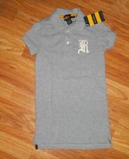 RALPH LAUREN Rugby Logo Gray Cotton POLO SHIRT top womens Size XXS ~ NEW w/Tag
