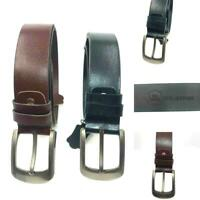 Mens Real Leather Belts 100% Cowhide Leather Buckle Formal & Casual Jeans