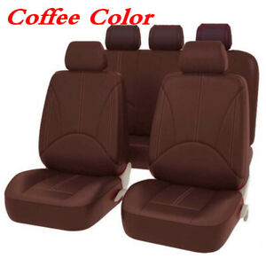 9Pc/Set PU Soft Leather Car Seat Cover Breathable Protector Cushion Coffee Color
