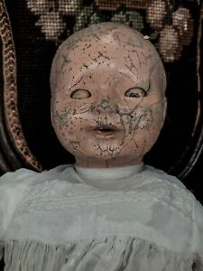 """Antique Baby Doll 14"""" Creepy Haunted Gothic Oddity Vintage Composition Horror"""