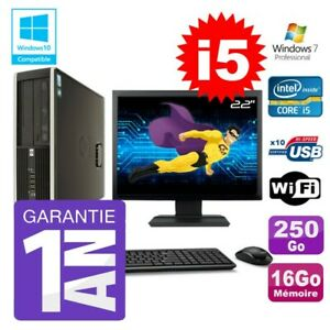 """PC HP 8200 SFF Intel I5-2400 16Go Disque 250Go Graveur Wifi W7 Ecran 22"""""""