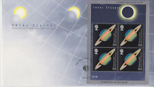 UNADDRESSED GB ROYAL MAIL FDC 1999 SOLAR ECLIPSE STAMP SHEET FALMOUTH PMK