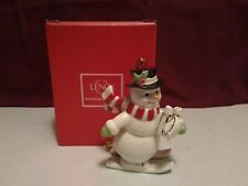 L35 Vintage Lenox Very Merry Porcelain Snowman Christmas Tree Ornament t ~ Euc