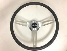 """SS"" 3 Spoke 15"" Black Cushion Grip Steering Wheel With SS Cap Set"