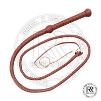 06 Feet Long 12 Plait Genuine Real Leather Bull Whip Heavy Duty Bullwhip Brown