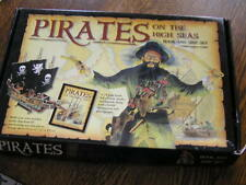 """PIRATES on The HIGH SEAS 24~Page BOOK & 13.25x7 7/8 x17.75"""" Wood PIRATE SHIP~~8+"""