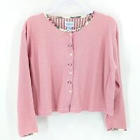 Vintage Rosette Button Waffle Knit Cardigan Size Medium Womens Pink Cropped Top