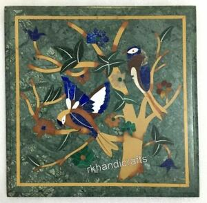 15 x 15 Inches Bird Pattern Inlaid Corner Table Top Marble Office Coffee Table