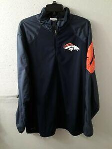 Nike On Field NFL Denver Broncos Navy Blue & Orange Polyester Jacket Size 2XL
