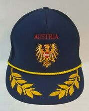 Austria Blue Men's Adjustable Embroidered Ball Truckers Hat Cap Gold Leaf
