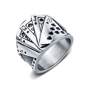 Vintage Hip Hop Men's Stainless Steel Playing Cards Casting Rings Finger Ring