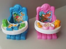 Fisher Price Loving Family Dollhouse Twins Boy & Girl Booster Seats Highchairs