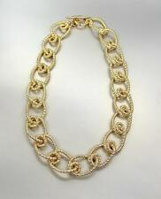 CHUNKY Triple Gold Plated Textured Intertwined Knot Cable Links Chain Necklace