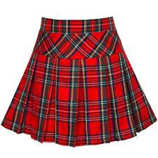 Us Stock! Girls Skirt Back School Uniform Red Tartan Skirt Size 6-14