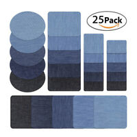 25Pcs Denim Iron On Jean Patches Shades of Blue No-Sew Shades Jeans Repair Kit