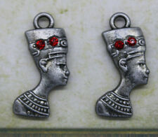Free shipping 8pcs retro style Red crystal Egyptian queen alloy charm pendants