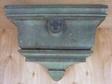Antique Brass Decorative Arts Church Cross Planter Box Gorgeous Patina
